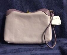COACH CRICKET 42638 LAVENDER/ PURPLE LEATHER WRISTLET BAG, NWT, COACH DUST BAG