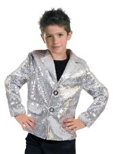 Disco Jacket Silver Child Costume Boys Girls 70s Dance Retro Sequins Dance