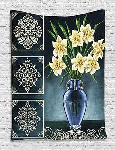 Daffodils Ceramic Pot Floral Tapestry Wall Hanging for Living Room Bedroom Dorm