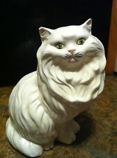 "LG 14"" VTG WHITE FURRY PERSIAN CAT W/ LT GREEN EYES HANDPAINTED GLAZED CERAMIC"