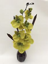 Silk/Artificial Flower Arrangement In Vase: Lime Green Orchid/Black Vase