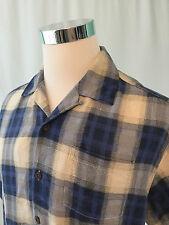 Tommy Bahama Hawaiian Shirt Size Medium 100% Silk Leaf Pattern Blue Cream EUC