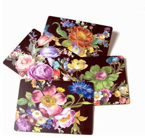 "MacKenzie-Childs Flower Market Placemats - Black 12"" wide, 16"" long - Set of 4"