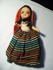 Vintage Bisque Mexican Doll Hand Painted Moving Arms & Legs 1960's