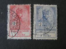 *HUNGARY, SCOTT # B15-B16(2),1k+2k, VALUES 1913 SEMI-POSTAL MONARCHY ISSUE USED