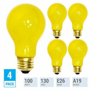 4 Pack YELLOW BUG LIGHT BULB 100W Watt A19 Medium E26 130V Incandescent 100A/YB