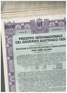 Händler-Lot 35 Austrian Government Int. Loan 1930, Wien 1930, 25.000 Lire