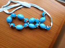 Blue Bead Necklace - Large Blue Ceramic Beads with Pink Eye / Bean