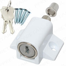 WHITE PATIO DOOR LOCK CATCH+SCREWS Sliding UPVC Metal Window Locking Dead Bolt