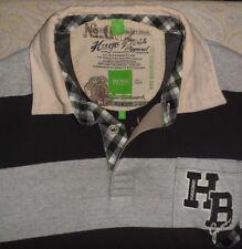 HUGO BOSS GREEN LABEL partin 2 Men's l/s Gray Striped Cotton Rugby Shirt XL