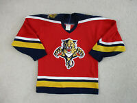VINTAGE CCM Florida Panthers Hockey Jersey Youth Large Red Yellow SEWN Kids