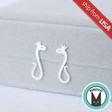 US 925 Sterling Silver Funny Snake Crown Designer Ear Earrings Stud Novelty Cute