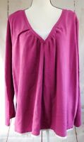 Plus Size 4X Dark Pink With White Trim Long Sleeve Top Pre-Owned Essentials
