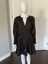ULLA JOHNSON Black & Gold Stripe Puff Sleeve Cotton Dress Size 2