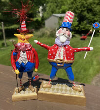 Lot Of 2 OOAK Handcrafted Paper Mache' Folk Art Uncle Sam And Fire Cracker Star