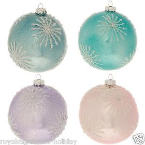 "3522992 RAZ 4"" Crackle Winter Snowflake Pastel Glass Ball Christmas Ornament"