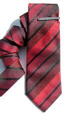 "Men Tie & Bar Black Red Diagonal Stripe 3 1/4"" ALFANI NWT $55 A916"