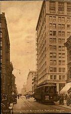 Portland Oregon postcard ~1910 Washington Street West from 3rd cable car Tram