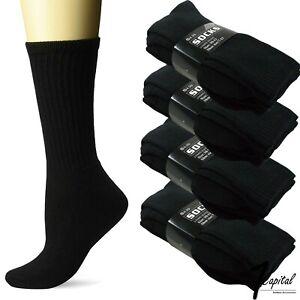 Lots 3-12 Pair Mens Black Crew Athletic Sports Work Cotton Socks Size 9-11 10-13