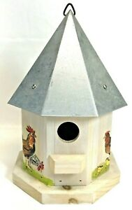 Hanging Wood Birdhouse Tin Roof Hand Painted Bird House Decorative Made in USA