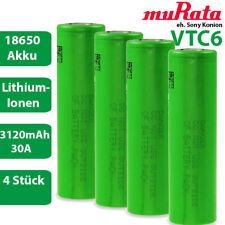 4 x Murata eh. Sony Konion US18650VTC6 Lithium Akku 3,7 V 18650 30A 3120mAh