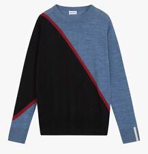 BRORA Colour Block Jumper Size 12-14 Black/Storm 100% Merino Wool NEW RRP £149