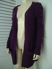 MODA INTERNATIONAL Sweater Wrap S Purple Thin Sheer Cotton Uneven Hi Lo Hem BOHO