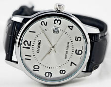 Casio Mens Analog Silver Black MTP-V002L-7B Leather Band Date Display Watch New