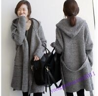 New Hot Korean Womens Knit Sweater Long Coats Thicken Cardigan Jacket Hooded Sz