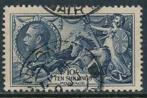 1934 GB 10/- INDIGO SEAHORSE FINE USED SG452 our ref D2