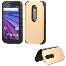 For Motorola Moto G 3rd Gen 2015 GOLD STAND  CASE COVER + CLEAR SCREEN FILM