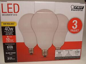 3 Pack LED CANDELABRA base small WARM WHITE Feit 40W Equivalent 5W Light Bulbs