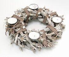 Adventskranz weiß Holz Weihnachtsdekoration Weihnachts-Gesteck Adventsgesteck