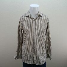 Lacoste Brown White Long Sleeve Button Front Cotton Striped Casual Shirt Mens 40