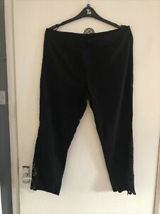 "Ladies - Women's - Crop Trousers Size 20 - Eur 48 - Black - Roman -Pull On -L25"""