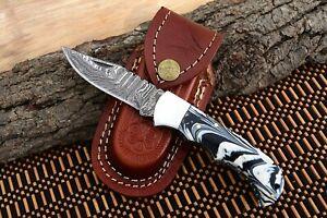 MH KNIVES RARE CUSTOM DAMASCUS STEEL FOLDING/POCKET KNIFE BACK LINER LOCK MH-27T
