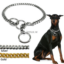 Heavy Duty Chain Dog Collar Slip Training Snake Choker 3mm Gold Silver Doberman