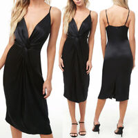 NEW Forever 21 Black Satin Plunging V-Neck Twist Front Cami Midi Slip Sexy Dress