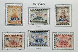 HONDURAS 1964 MNH KENNEDY LINCOLN COMPLETE SET OF 6 OVERPRINTS ON ALBUM PAGE