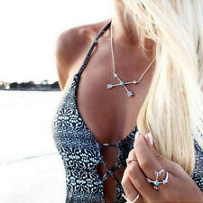 "Boho Lady "" X "" Cupid Arrow Match-Up Turquoise Vintage Necklace Chain 1pc"