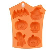 Halloween Themed Silicone Baking Mould Pumpkin Broom Witch Hat Icing Topper Mold