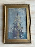 Antique 1914 G. Gerdes Signed Oil on Canvas Painting Nautical Seascape Ship Boat