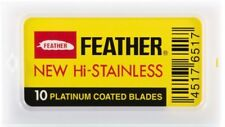 10 Feather New Hi-Stainless Platinum Coated Double Edge Razor Blades - Japan