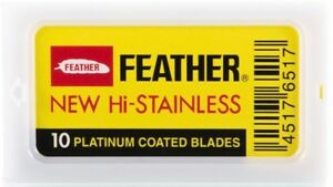 10 Feather New Hi-Stainless Platinum Coated Double Edge Razor Blades -- Japan