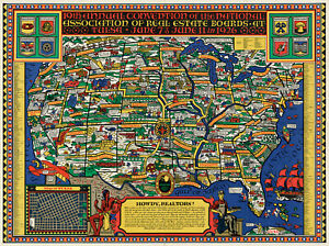 """1926 Pictorial Map 11""""x15"""" NAR National Association of Real Estate Boards Poster"""