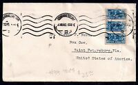 South Africa 1945 3d strip on postal history cover to USA WS3194