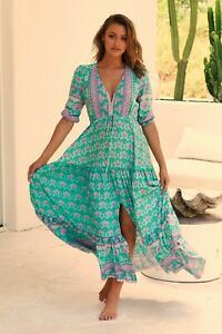JAASE WOMEN'S TESSA MAXI DRESS PARADISO GREEN FLORAL PRINT GENEROUS SIZING