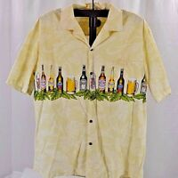 Aloha Republic Hawaiian Shirt XL USA Cotton SS Pale Yellow w/Beer Bottles & Mugs
