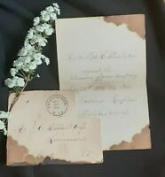 1800s 1886 Handwritten on burned Paper Wedding Reception Invitation Thalaker WV