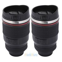 2x Camera Lens Cup Coffee Travel Mug Thermos Stainless Steel w/Leak-Proof Lid